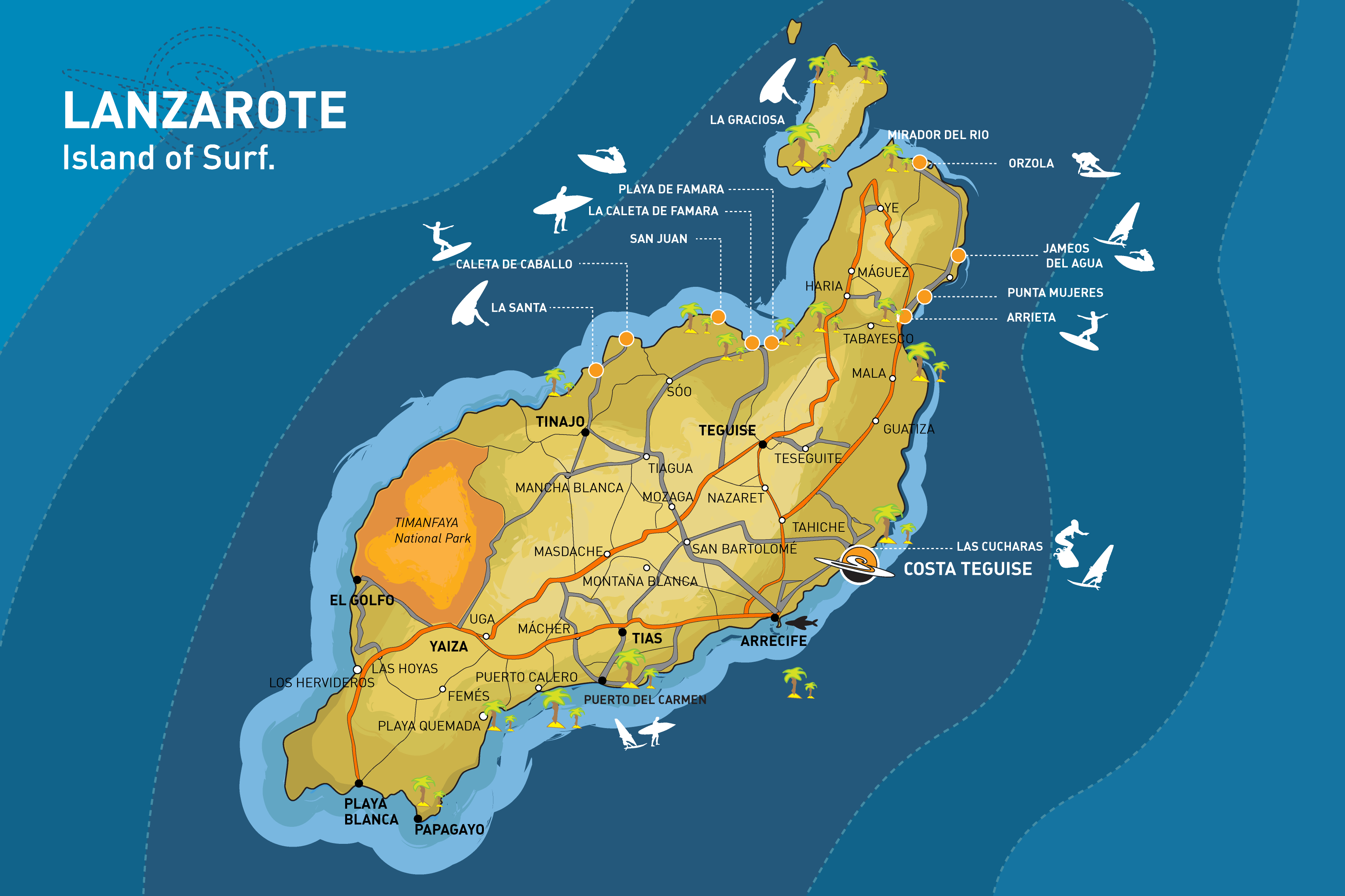surf map of lanzarote